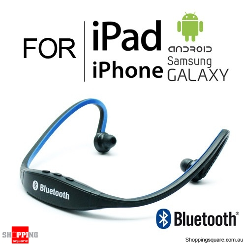 New Sports Bluetooth Wireless Headset w/ TF Card Slot for iPhone iPad Samsung Galaxy Android Blue + Black Colour