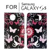 Classic Pattern Leather Wallet Card Case Cover for Samsung Galaxy S5 i9600 - Butterfly Black
