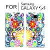 Classic Pattern Leather Wallet Card Case Cover for Samsung Galaxy S5 i9600 - Colourful Flower
