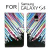 Classic Pattern Leather Wallet Card Case Cover for Samsung Galaxy S5 i9600 - Rainbow