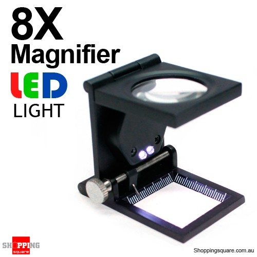8 X Mini Folding & Standing Magnifier with LED Light and Ruler Black Colour