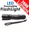 Super Bright Zoomable 2000 Lumens CREE XML-T6 LED Flashlight w/ Clip Black Colour