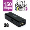 Portable Mini Black 2 In 1 150Mbps USB Wireless 3G Wifi Router