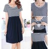 Womens Maternity Striped Round Neck Breastfeeding Casual Dress Size 14