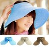 Womens Summer Wide Brim Roll Up Foldable Sun Beach Hat Blue Colour