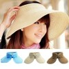 Womens Summer Wide Brim Roll Up Foldable Sun Beach Hat Khaki Colour
