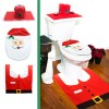 Santa Toilet Lid Cover + Tank & Tissue Box Cover + Rug set for Bathroom Christmas Decoration