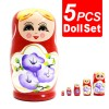 5Pcs Hand Painted Toys Lovely Russian Nesting Matryoshka Wooden Doll Set Red Colour
