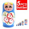 5Pcs Hand Painted Toys Lovely Russian Nesting Matryoshka Wooden Doll Set Blue Colour