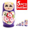 5Pcs Hand Painted Toys Lovely Russian Nesting Matryoshka Wooden Doll Set Purple Colour