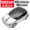 2.4GHz 1600DPI Optical Wireless Car-Shape Mouse Silver Colour