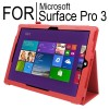 New Flip Leather Case Cover for Microsoft Surface Pro 3 Red Colour