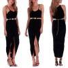 Womens Maxi Dress Summer Long Skirt Evening Cocktail Party Tops Size 16 Black Colour