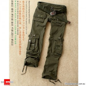 Ladies Womens Military Army Green Jeans Combat Pants Leisure Trousers S Size
