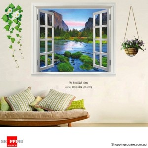 3D Home Decoration Wall Sticker - Green Valley Window View