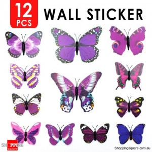 12pcs 3D Butterfly Wall Sticker for Home Decoration Purple Colour