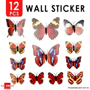 12pcs 3D Butterfly Wall Sticker for Home Decoration Red Colour