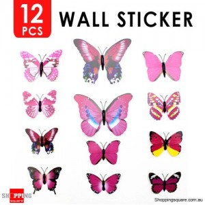 12pcs 3D Butterfly Wall Sticker for Home Decoration Pink Colour