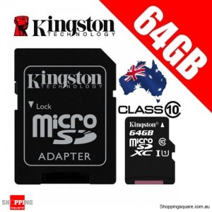 Kingston 64GB microSDXC Class 10 UHS-I TF Memory Card with Adapter
