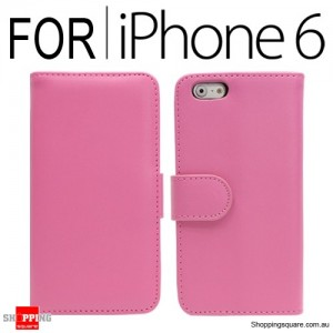 New Flip Leather Wallet Case Cover for iPhone 6S/6 Pink Colour