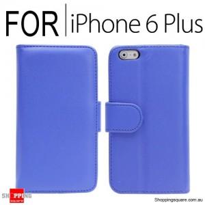 New Flip Leather Wallet Case Cover for iPhone 6 Plus/6S Plus Blue Colour