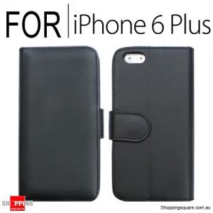 New Flip Leather Wallet Case Cover for iPhone 6 Plus/6S Plus Black Colour