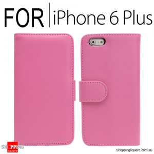 New Flip Leather Wallet Case Cover for iPhone 6 Plus/6S Plus Pink Colour