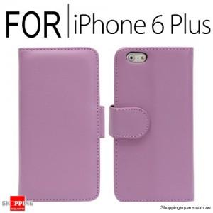 New Flip Leather Wallet Case Cover for iPhone 6 Plus/6S Plus Purple Colour