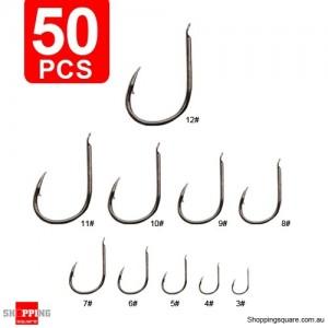 50Pcs 10 Size Assorted Silver Black Fishing Sharpened Hook