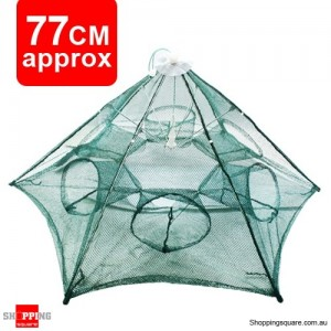 77 CM 6 Holes Portable Foldable Fishing Net Fish Shrimp Minnow Crab Baits Cast Mesh Trap