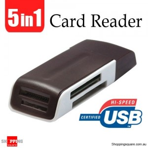 5 in 1 USB 2.0 Multi-Card reader Support MicroSD MS M2 MiniSD Brown Colour