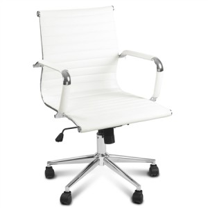 White Replica PU Leather Eames Office Chair