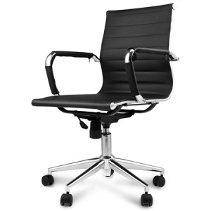 Black Replica PU Leather Eames Office Chair