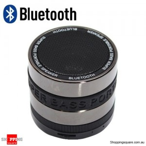 Super Bass Portable Mini Bluetooth Wireless Speaker free Mic Silver + Black Colour