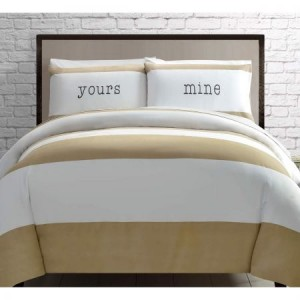 Double Bed Yours and Mine Latte Quilt Cover Set