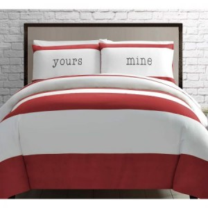 Double Bed Yours and Mine Red Quilt Cover Set
