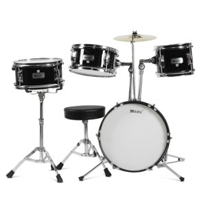 4 Piece Junior Drum Set with Cymbals-Black