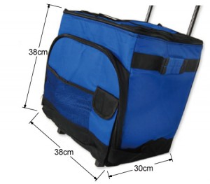 Folding Cooler Bag on Trolley - 38L Capacity with Thermal Insulation