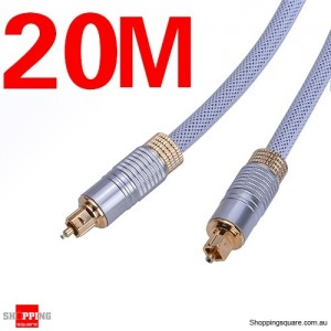 20M Ultra Premium OD6.0mm Toslink Optical Fibre Gold Plated Cable
