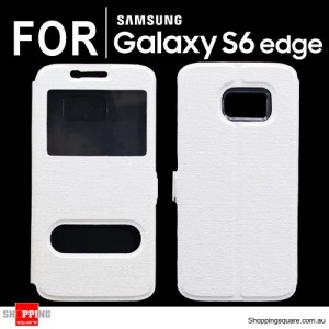Double Window Flip Case Cover for Samsung Galaxy S6 Edge White Colour