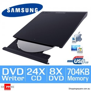 Samsung SE-208GB/RSBD Slim External USB DVD-Writer Portable DVD ROM Drive (Black)