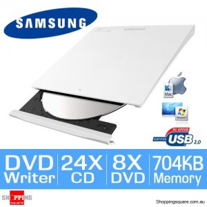 Samsung SE-208GB/RSWD Slim External USB DVD-Writer (White)