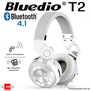 New Bluedio T2 Wireless Bluetooth V4.1 Stereo Headphones WHITE