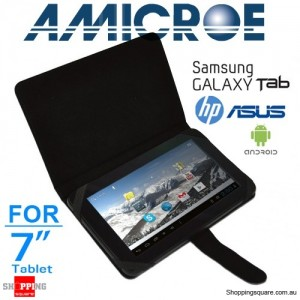 "Amicroe 7"" Universal Folio Tablet Case for Samsung Tab 1,2,3, ASUS, HP and all other major brands"