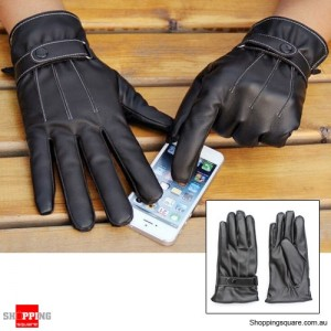 PU Leather Touch Screen Glove for Smartphone Tablet BLACK