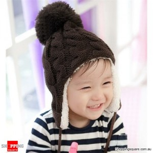 Baby Kid Winter Knitted Earmuffs Beanie Coffee Colour