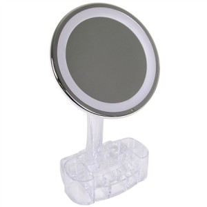 Lighted Cosmetic Mirror with Built-in Storage