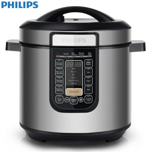 New Philips  Multi-Function Slow Cooker 6L 1000W Stainless Steel Reheat Timer Roast