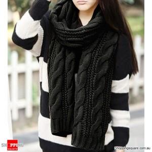 Women's Warm Knit Wool Long Neck Scarf Black Colour