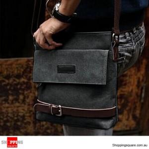 Men's Vintage Canvas Leather Shoulder Bag Black Colour